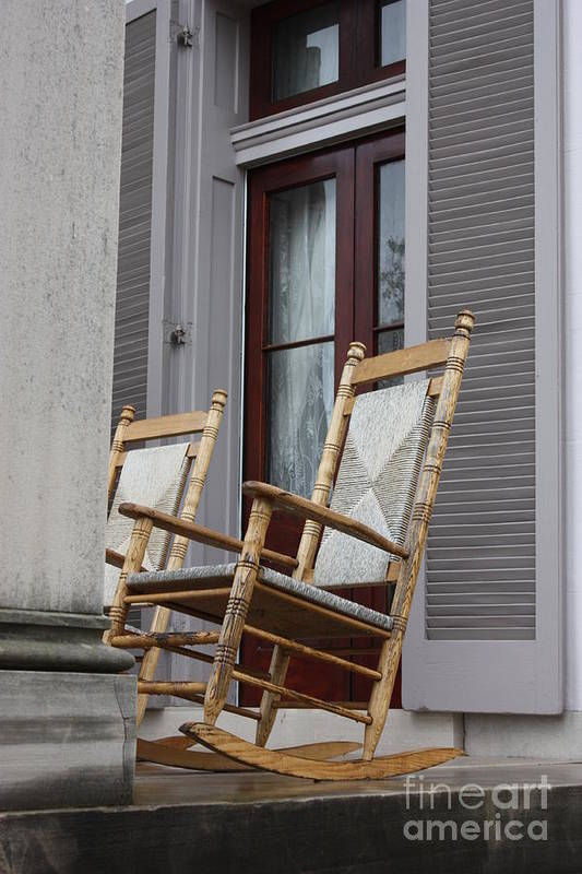 Rocking Chairs Print featuring the photograph Plantation Rocking Chairs by Carol Groenen