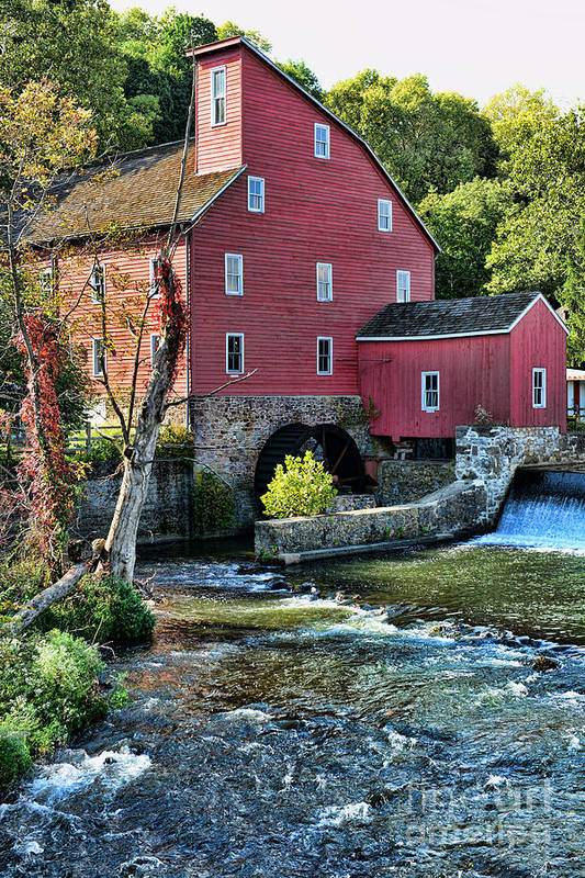 Paul Ward Print featuring the photograph Red Mill On The Water by Paul Ward