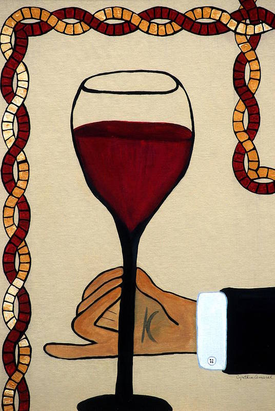 Red Wine Print featuring the painting Red Wine Glass by Cynthia Amaral