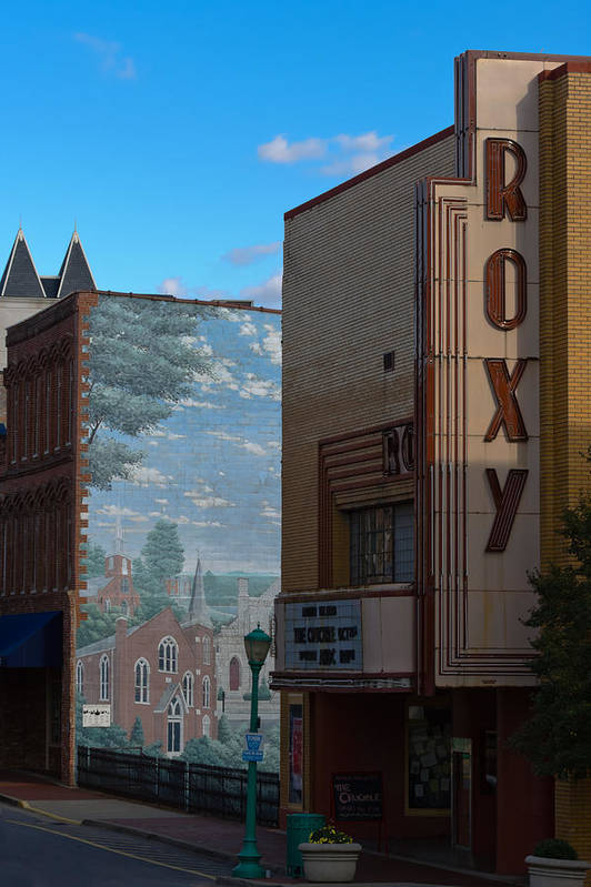 Clarksville Print featuring the photograph Roxy Theater And Mural by Ed Gleichman