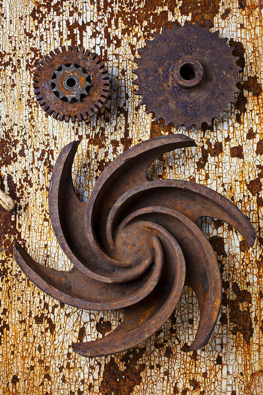 Rusty Print featuring the photograph Rusty Gears by Garry Gay