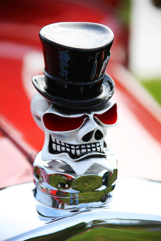 Skull Top Hat Hood Ornament Print featuring the photograph Skull With Top Hat Hood Ornament by Garry Gay