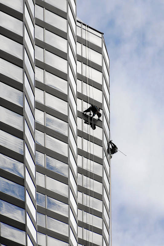 Chicago Print featuring the photograph Skyscraper Window-washers - Take A Walk In The Clouds by Christine Till