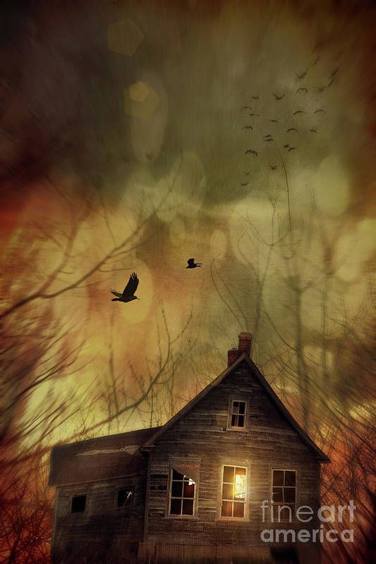 Abandoned Print featuring the photograph Spooky House At Sunset by Sandra Cunningham