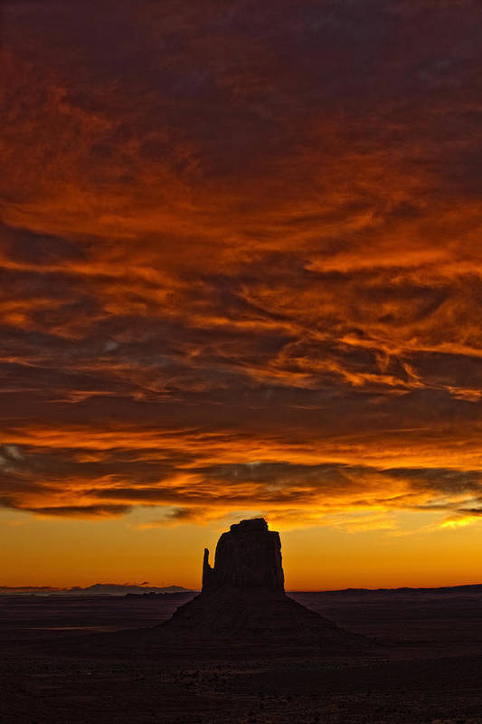 Light Print featuring the photograph Sunrise Over Monument Valley, Arizona by Robert Postma