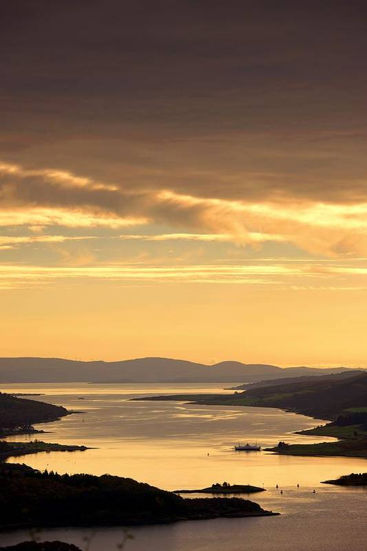 Atmosphere Print featuring the photograph Sunset Over Water, Argyll And Bute by John Short