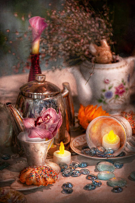 Tea Print featuring the photograph Tea Party - I Would Love To Have Some Tea by Mike Savad
