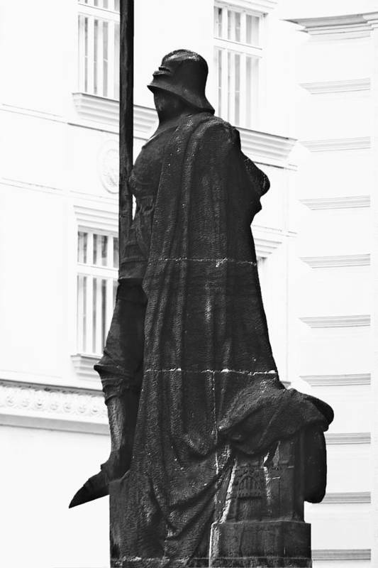 Prague Print featuring the photograph The Iron Knight - Darth Vader Watches Over Prague Cz by Christine Till