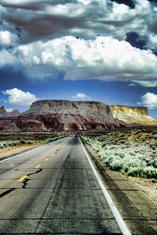 Street Print featuring the photograph The Long And Lonely Road by Ellen Heaverlo