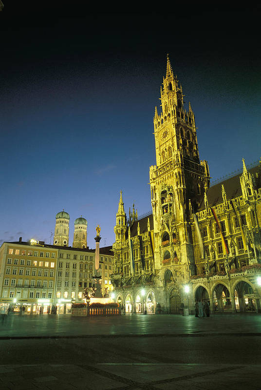 Night Print featuring the photograph The Marienplatz At Night by Taylor S. Kennedy
