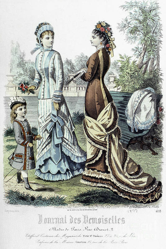 1877 Print featuring the photograph Womens Fashion, 1877 by Granger