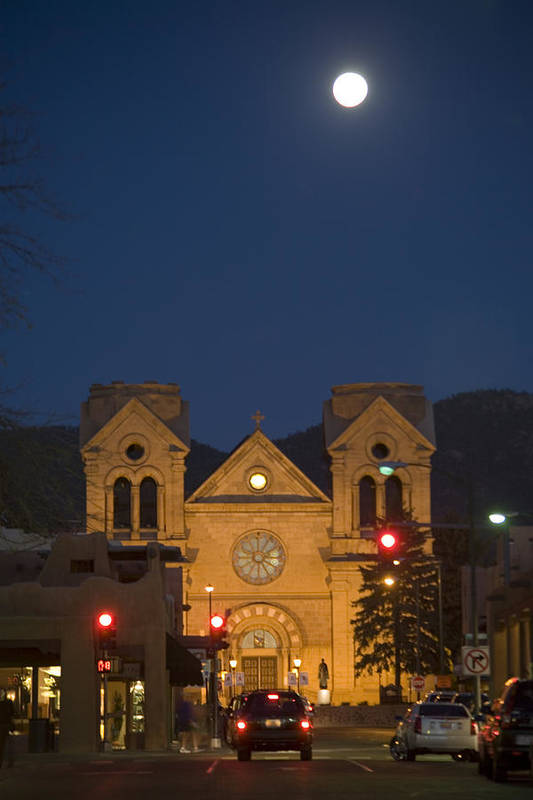 New Mexico Print featuring the photograph A Full Moon Rises Over Cathedral by Stephen St. John
