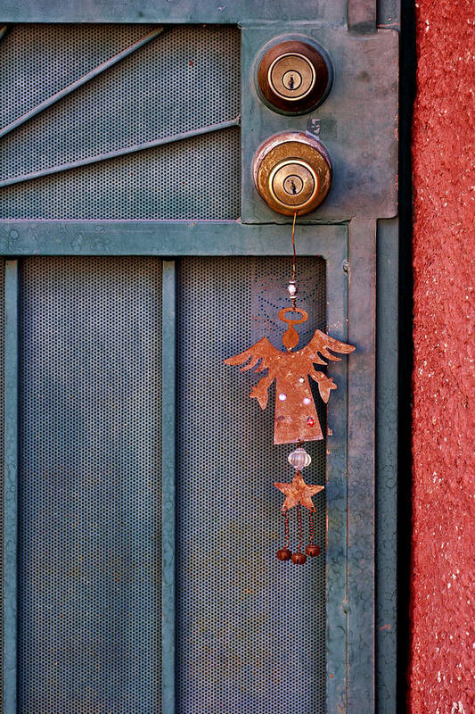 Angel Print featuring the photograph Angel At The Door by Carol Leigh