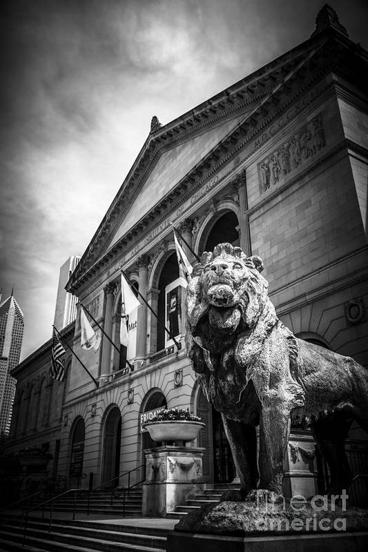 America Print featuring the photograph Art Institute Of Chicago Lion Statue In Black And White by Paul Velgos