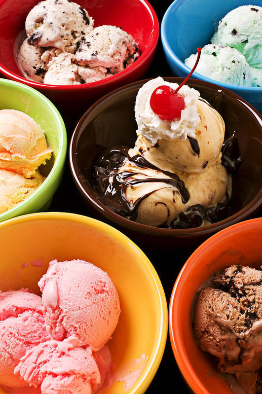 Ice Print featuring the photograph Bowls Of Different Flavor Ice Creams by Garry Gay