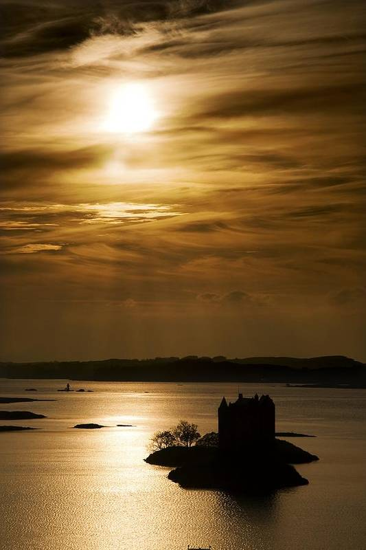 Beauty In Nature Print featuring the photograph Castle Stalker At Sunset, Loch Laich by John Short
