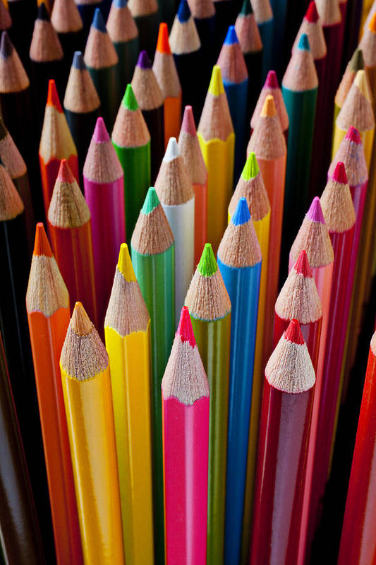 Pencil Print featuring the photograph Colored Pencils by Garry Gay