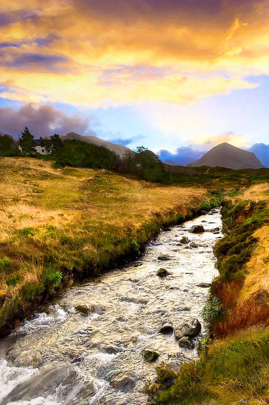 Scottish Print featuring the photograph Faerie Lands - Beautiful Morning On The Isle Of Skye by Mark E Tisdale