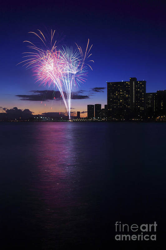 4th Print featuring the photograph Fireworks Over Waikiki by Brandon Tabiolo - Printscapes