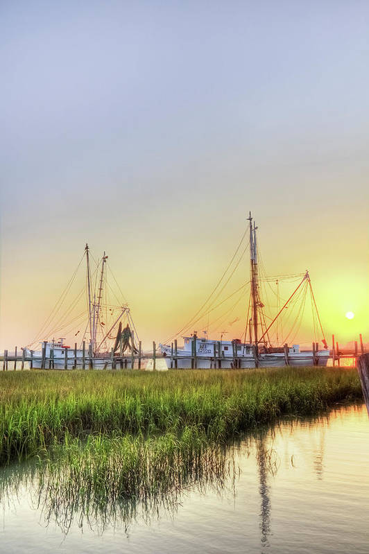 Folly Print featuring the photograph Folly Fishing Boats by Drew Castelhano