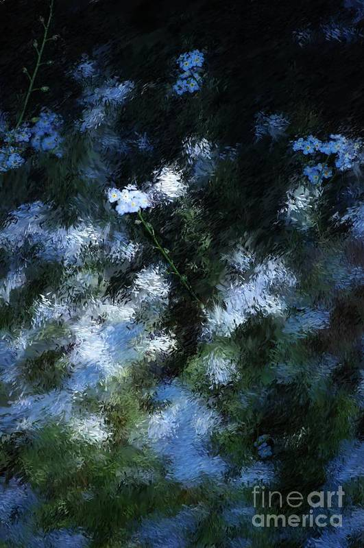 Abstract Print featuring the digital art Forget Me Not by David Lane