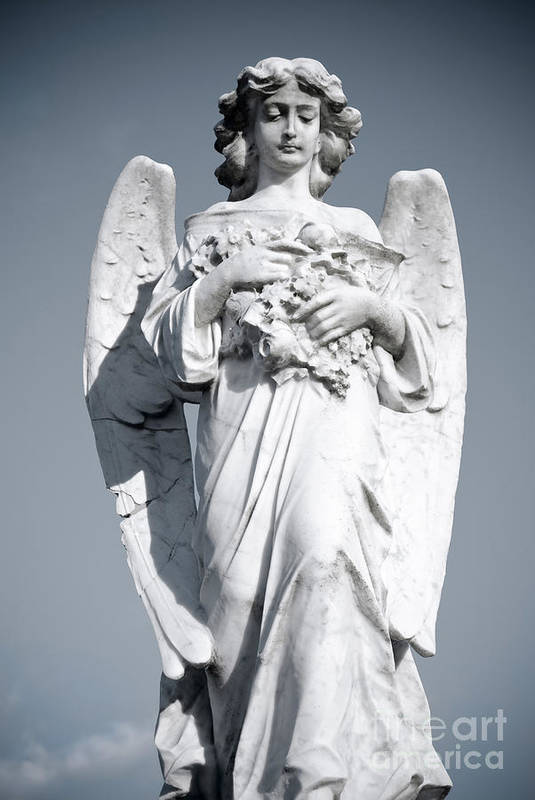 Angel Print featuring the sculpture Grieving Angel On The Old Graveyard by Yurix Sardinelly