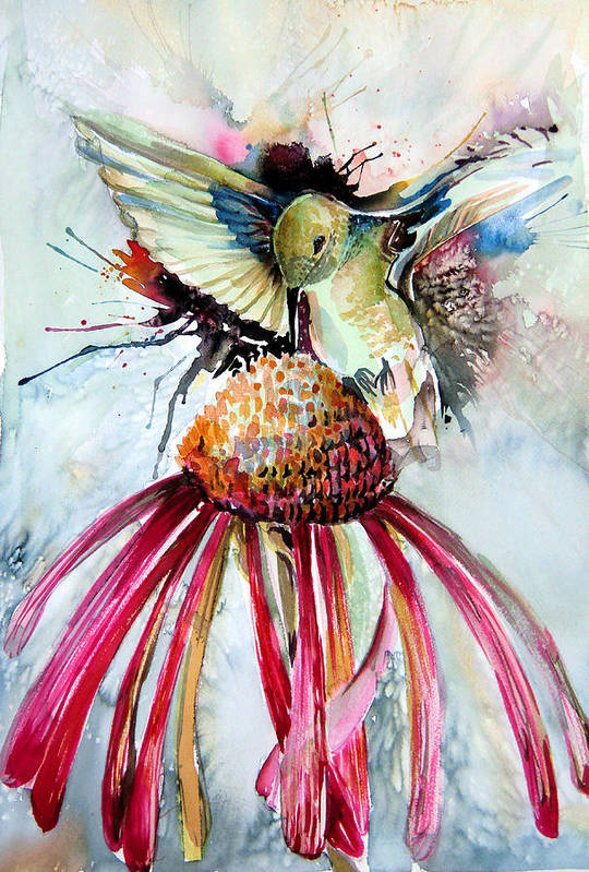 Humming Bird Print featuring the painting Humming Bird by Mindy Newman