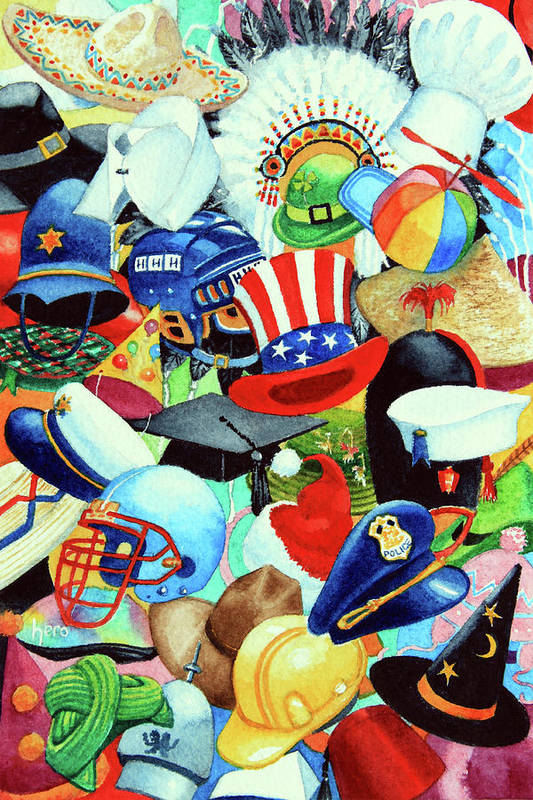 Hundreds Of Hats Art Print Print featuring the painting Hundreds Of Hats by Hanne Lore Koehler