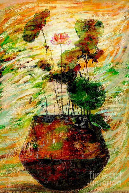 Amtique Print featuring the digital art Impression In Lotus Tree by Atiketta Sangasaeng