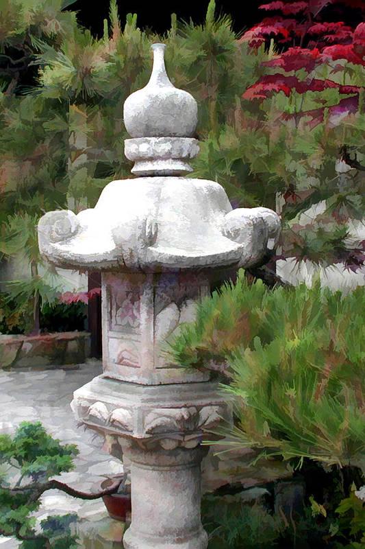 Japanese Garden Stone Lantern Statue Print By Elaine Plesser