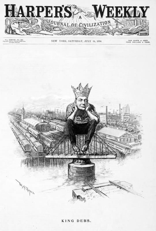 1890s Print featuring the photograph King Debs. Caricature Of Eugene Debs by Everett