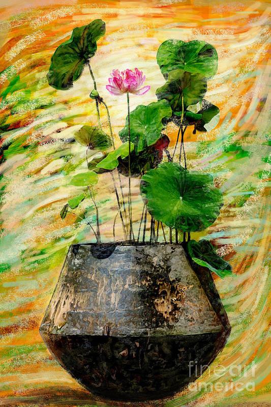 Amtique Print featuring the photograph Lotus Tree In Big Jar by Atiketta Sangasaeng