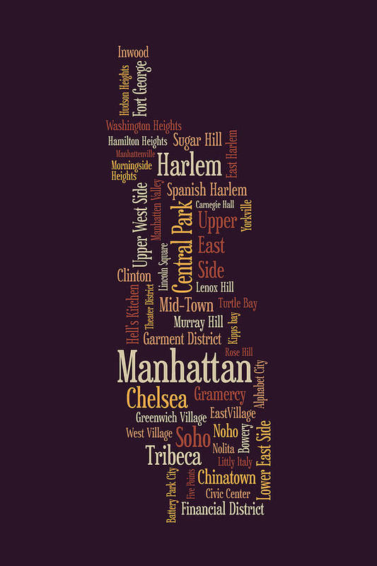 Manhattan New York Typographic Map Print By Michael Tompsett