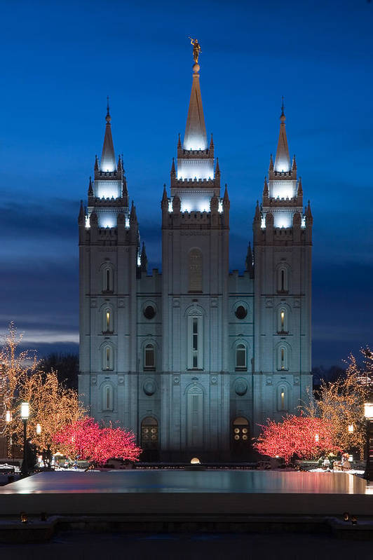 Christmas Print featuring the photograph Mormon Temple Christmas Lights by Utah Images