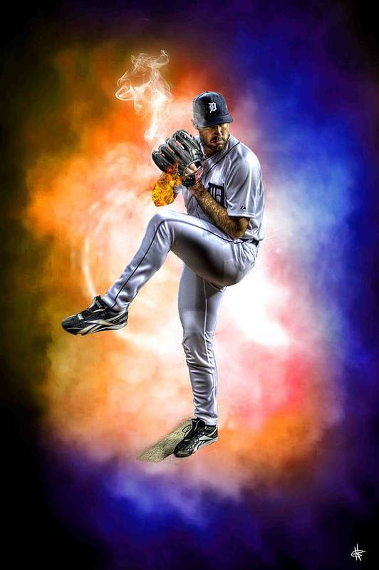 Cy Young Print featuring the photograph Mr. Justin Verlander by Nicholas Grunas