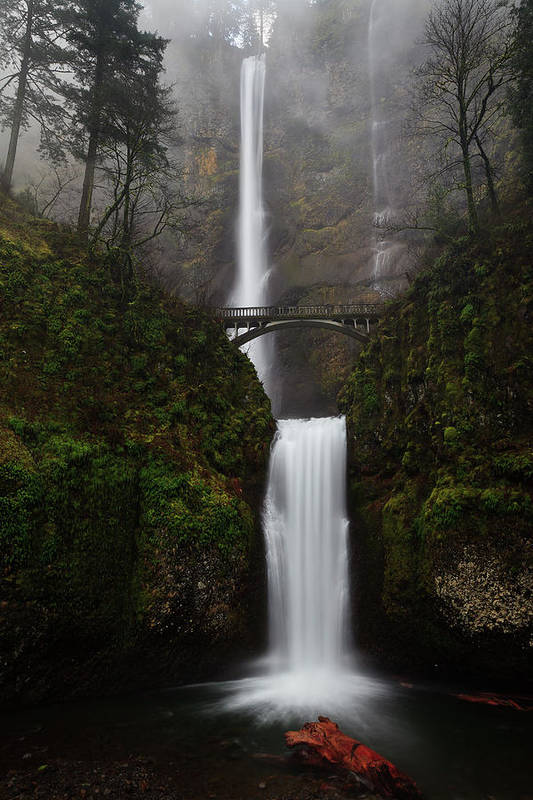 Vertical Print featuring the photograph Multnomah Fall by Helminadia
