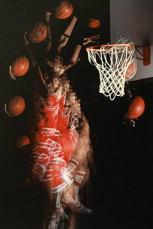 Sport; Sports; Basketball; Player; Effort; Ball; Basket; Dunk; Jump; Jumping; Skill; Game; Games; Basket Ball; Hoop; Round Ball; Net; Swish; Man; Boy; Black; African American; African-american Print featuring the photograph Net Fever by Gerard Fritz