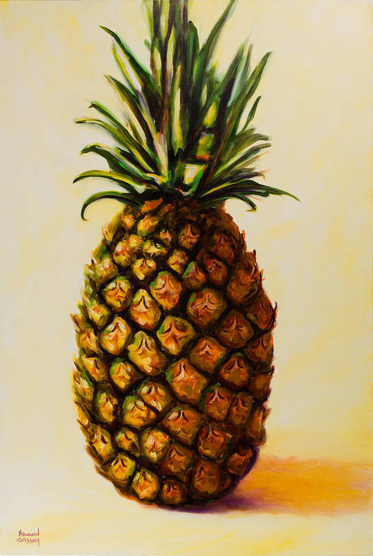 Pineapple Print featuring the painting Pineapple Angel by Shannon Grissom