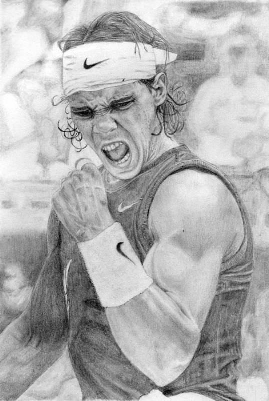 Rafael Nadal Print featuring the drawing Rafael Nadal by Alexandra Riley