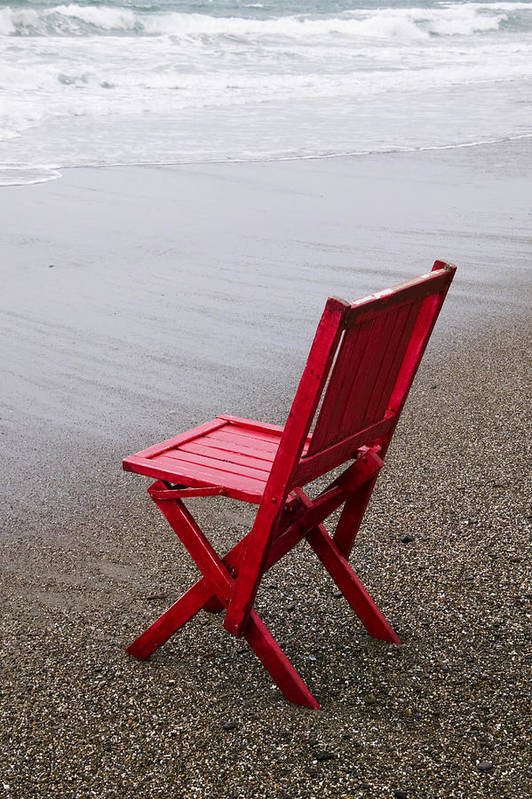 Red Print featuring the photograph Red Chair On The Beach by Garry Gay