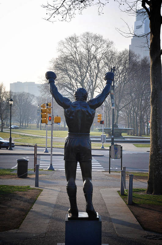Rocky Statue From The Back Print featuring the photograph Rocky Statue From The Back by Bill Cannon