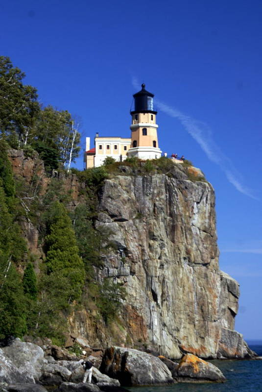 Lighthouse Print featuring the photograph Split Rock 2 by Marty Koch