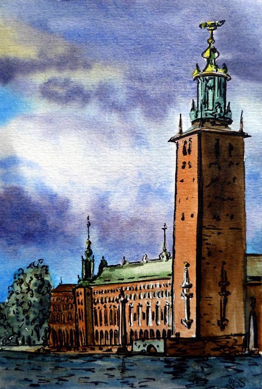 Stockholm Print featuring the painting Stockholm Sweden by Irina Sztukowski