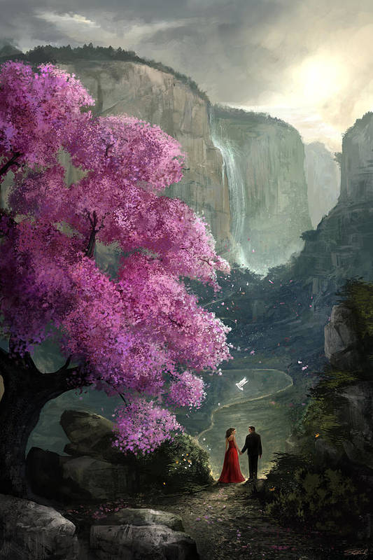 Cherry Blossom Print featuring the digital art The Path by Steve Goad
