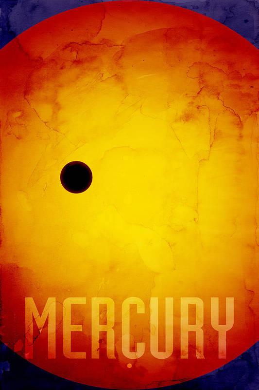 Mercury Print featuring the digital art The Planet Mercury by Michael Tompsett
