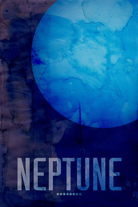 Neptune Print featuring the digital art The Planet Neptune by Michael Tompsett