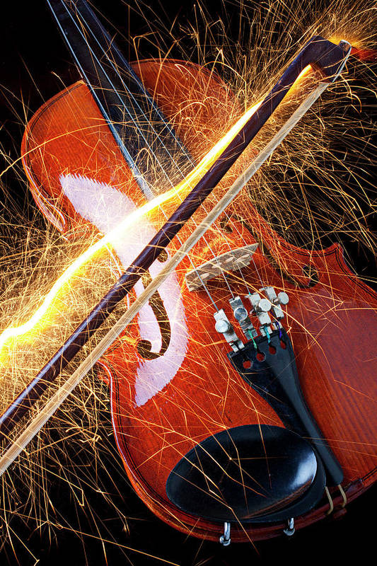 Violin Sparks Flying Bow Music Print featuring the photograph Violin With Sparks Flying From The Bow by Garry Gay
