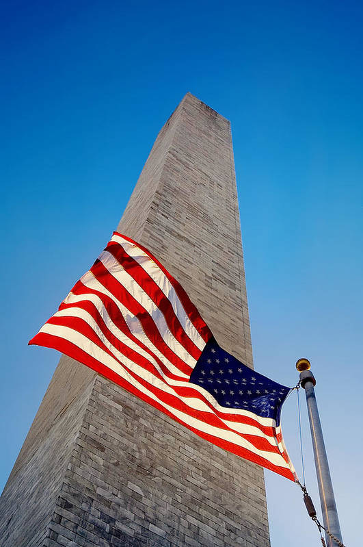American Flag Print featuring the photograph Washington Monument by Ilker Goksen