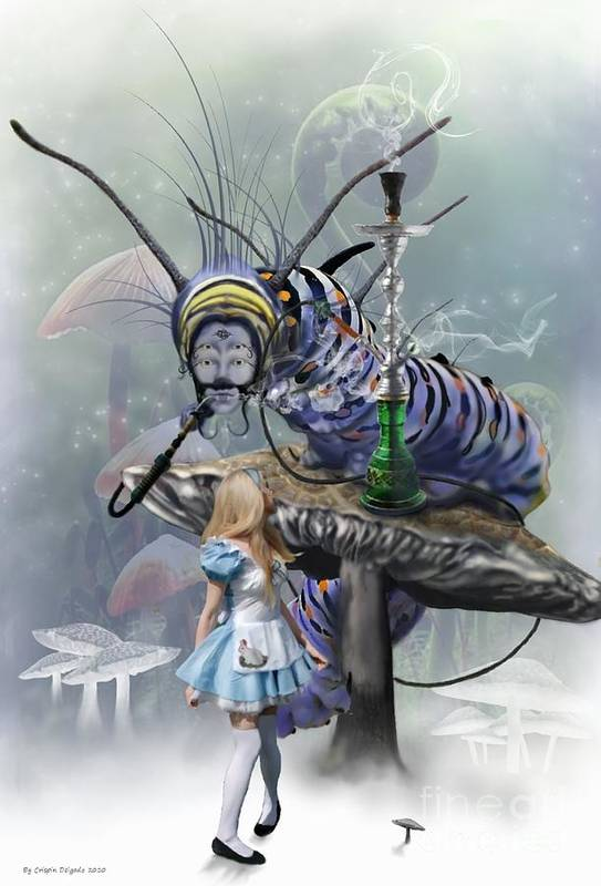 Alice Print featuring the digital art Who Are You by Crispin Delgado