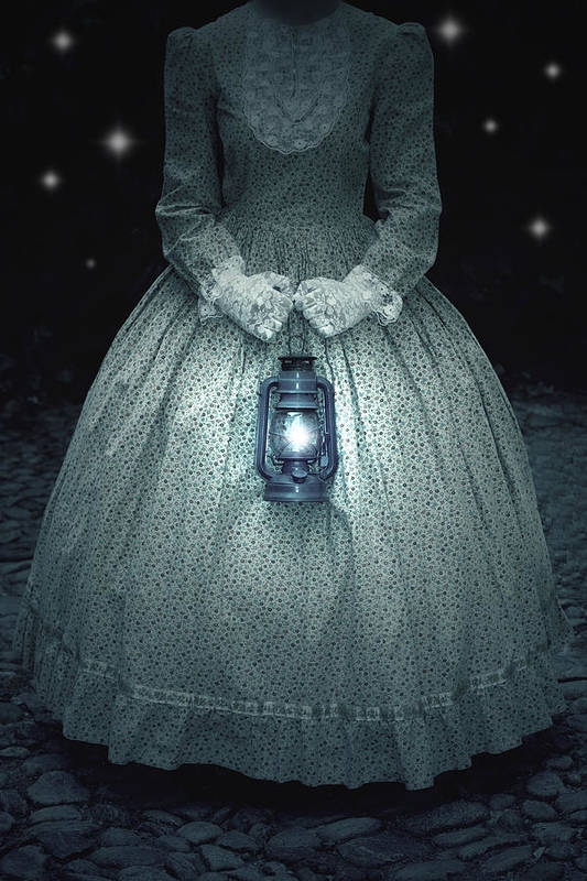 Female Print featuring the photograph Woman With Lantern by Joana Kruse